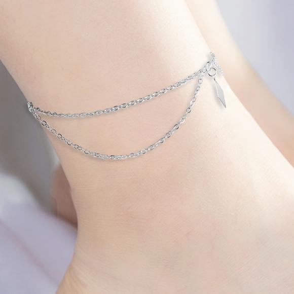 f7bb86e78 Jewelry | Boho Layered Silver Anklet Rhombus Ankle Bracelet | Poshmark
